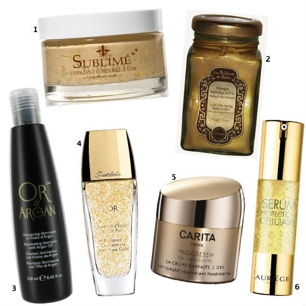 Or, les cosmétiques contenant de l'or