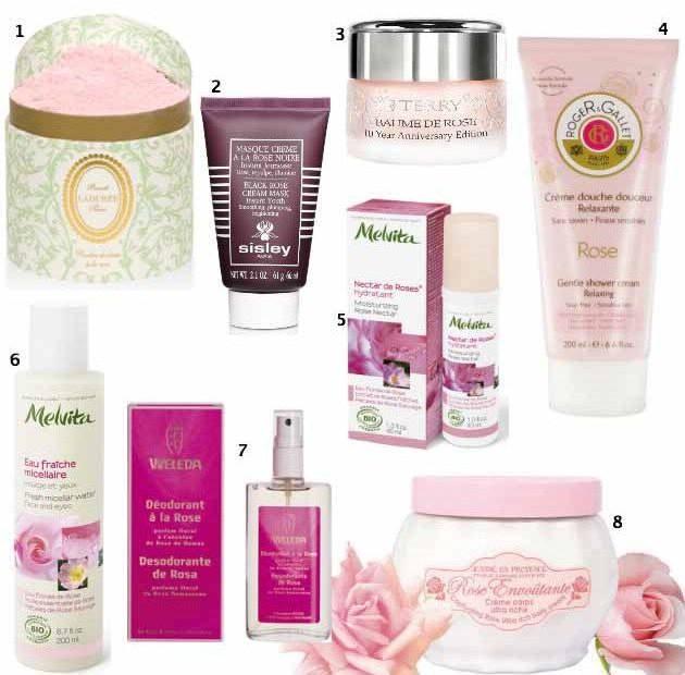 Selection de produits beauté à la rose