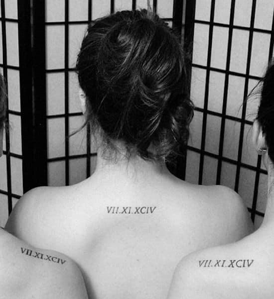 Le tatouage classique : la date de naissance chiffre romain